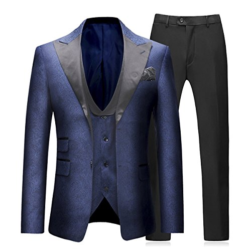 Boyland Mens 3 Piece Tuxedo Suits Jacquard Wedding Formal Wear with Vest and Trousers from Boyland