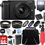 Cheap Panasonic LUMIX GX85 4K Black Mirrorless Interchangeable Lens Camera w/12-32mm Lens + 64GB SDXC Memory Card + Gadget Bag + 37mm Filter Kit + Wide Angle + Telephoto Lens+Card Reader+Mini Tripod & More