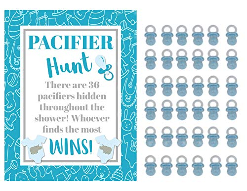 Blue Plastic Pacifiers for Baby Shower Pacifier Hunt Boy Baby Shower Game]()