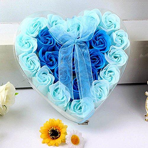 Flower Soap,NszzJixo9, 24Pcs Heart Scented Bath Body Petal Rose Flower Soap Wedding Decoration Gift,Paper Fancy Soap, Flavor (Blue)