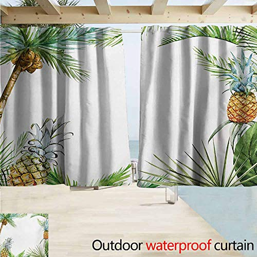 AndyTours Rod Pocket Top Blackout Curtains/Drapes,Pineapple Watercolor Tropical Island Style Border Print Exotic Fruit Palm Trees and Leaves,Outdoor Privacy Porch Curtains,W72x63L Inches,Multicolor ()