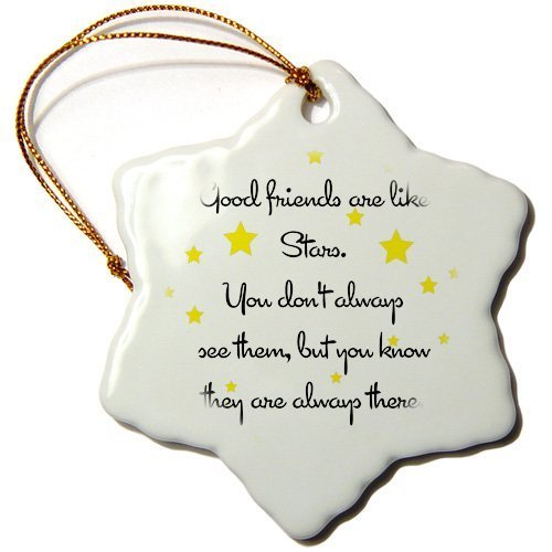 pansy 3-Inch Porcelain Snowflake Decorative Hanging Ornament, Good Friends Are Like Stars.