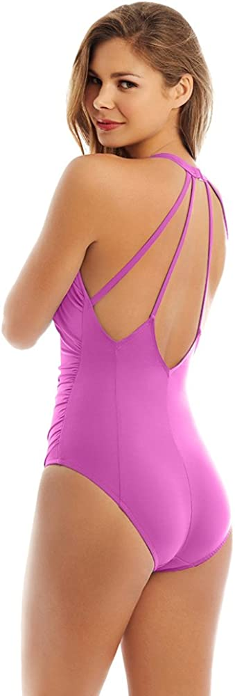Magicsuit Womens Swimwear Solid Trudy Tummy Control Halter Top One Piece Swimsuit