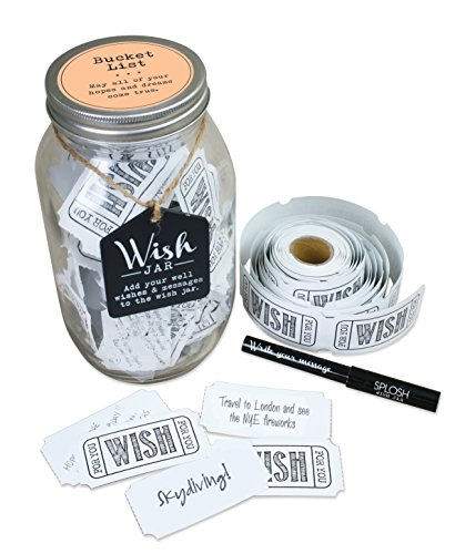 Wish Jar - TOP SHELF Bucket List Wish Jar ; Unique Gift Ideas for Him or Her ; Thoughtful Gifts for Birthdays, Christmas, Retirement, or Any Occasion ; Kit Comes with 100 Tickets and Decorative Lid