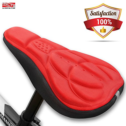 Arltb Gel Bike Seat Cover 4 Colors Bicycle Seat Saddle Cover Cushion Pad Protector Soft Adjustable Non Slip for Mountain Bike Road Bike MTB Cycling