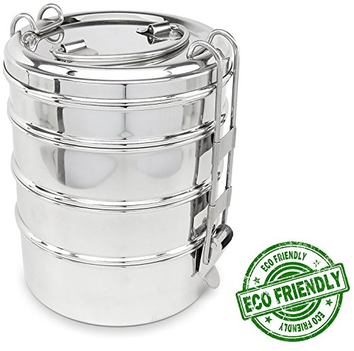 Round Lunch Box - Lifestyle Block Stainless Steel Tiffin Style 4-Layer Round Stacking Lunch Box