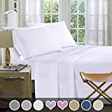 Loom & Mill Microfiber Bedding Sets - New Design Extra Soft 1800 Series Bed Sheet Set - Deep Pocket, Wrinkle, Fade, Stain Resistant, Hypoallergenic - 4 Piece(King, White-Greek Key)