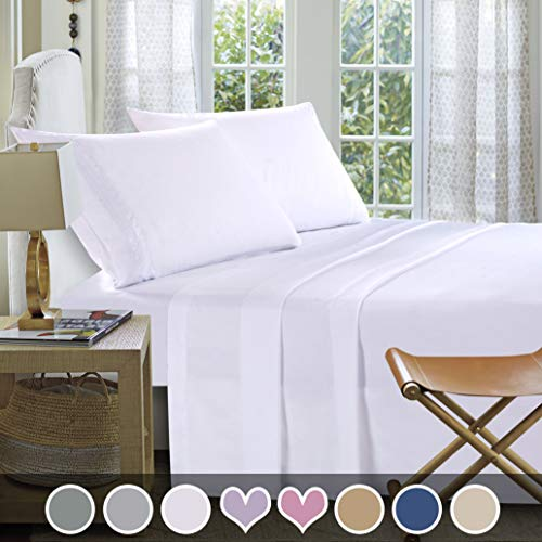 Loom & Mill Microfiber Bedding Sets - New Design Extra Soft 1800 Series Bed Sheet Set - Deep Pocket, Wrinkle, Fade, Stain Resistant, Hypoallergenic - 4 Piece(King, White-Greek Key) ()