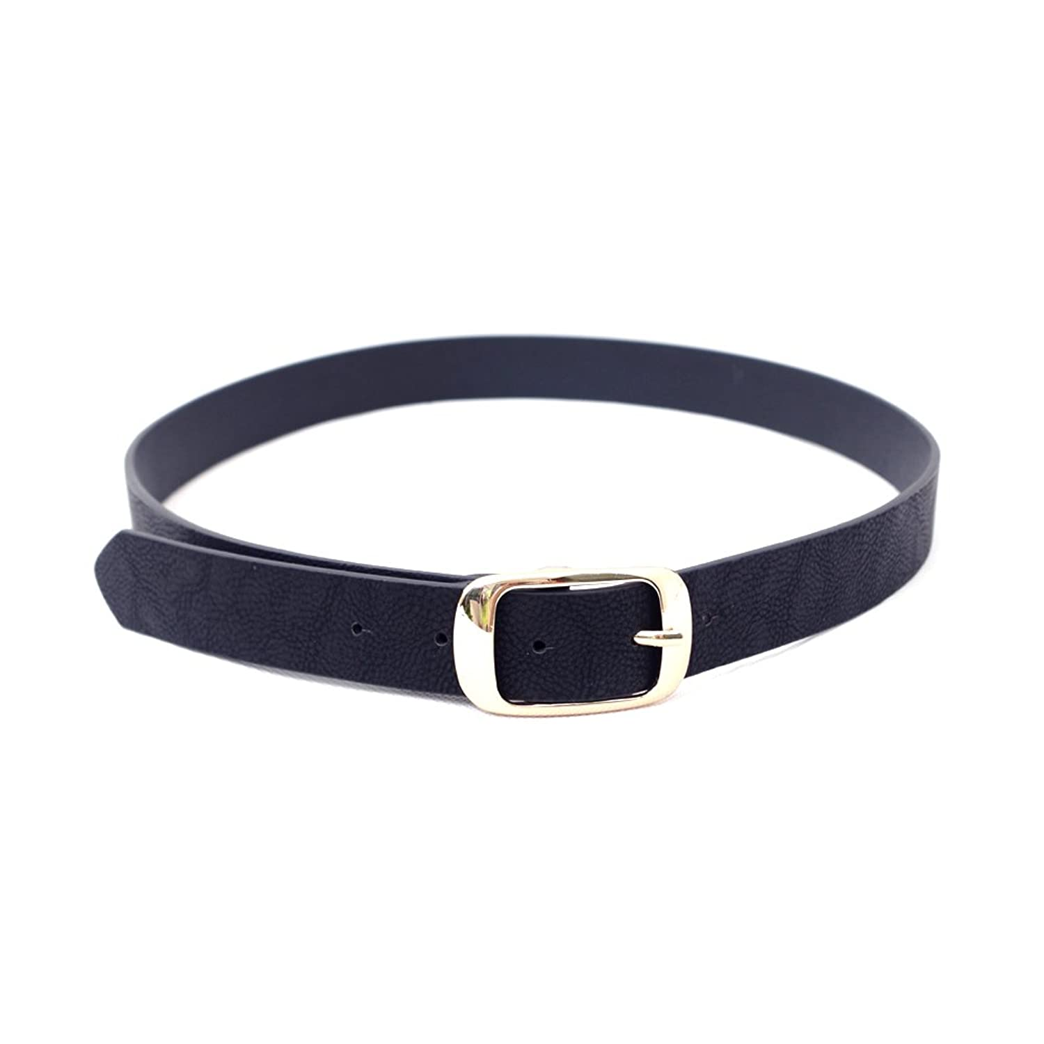 Maikun Women's Adjustable Solid Color Leather Belt with Pin Buckle