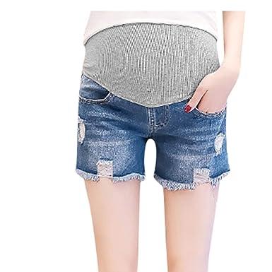 QinMMROPA Premamá Pantalones Cortos Rotos para Embarazadas ...