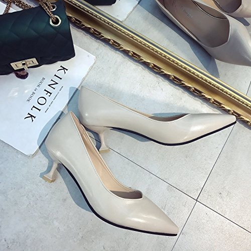 lavoro Xue con da professionali Qiqi singola bocca punta Scarpette tacchi Scarpa scarpe con semplice 34 beige 5cm donna alti a scarpe nere fine 8zU8v4qn
