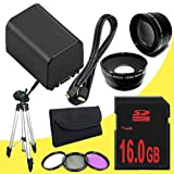 BP-819 Lithium Ion Replacement Battery + 16GB SDHC Class 10 Memory Card + 43mm 3 Piece Filter Kit + Wide Angle Lens + 2x Telephoto Lens + Mini HDMI Cable + Full Size Tripod for Canon Vixia HFM40 HFM41 HFM400 HV30 Digital Camcorders DavisMAX BP819 Accessory Bundle