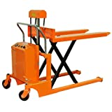 Bolton Tools New Hydraulic Key Operated Electric Powered Scissor Pallet Jack Truck - 2200 LB of Capacity - 35.4'' Max Height - Model EQSD100