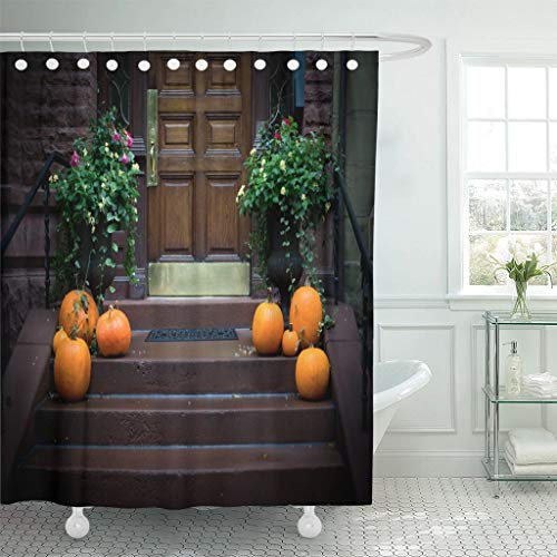 Emvency Fabric Shower Curtain Curtains with Hooks Orange