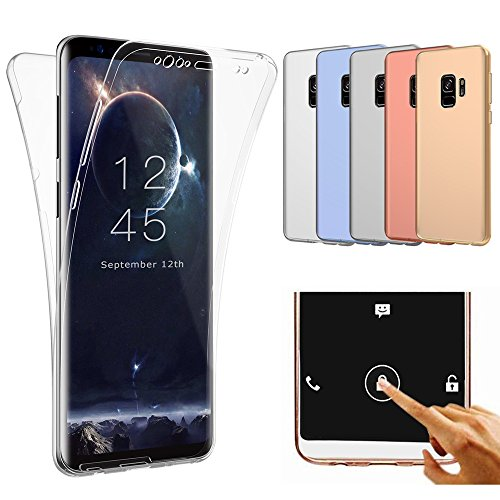 Galaxy S9 Case, ZHFLY Ultra thin Full Coverage 360 degree Protective Case Touch Screen Shockproof TPU Gel Transparent Clear Cover for Samsung Galaxy S9, Clear