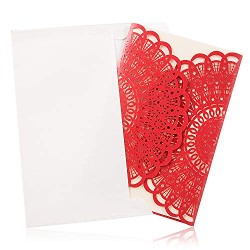 (BingGoGo 12x Pearl Paper Laser Cut Invitations, For Wedding, Baby Shower, Mother's Day,Brides Bridal Shower, Graduation Celebration, Birthday, Party Invitation,Business,Thank You Cards (Red))