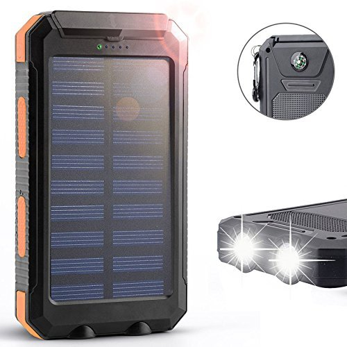 Solar Charger,Solar External Battery Pack,Portable 8000mAh Dual USB Solar Battery Charger Power Bank Phone Charger with LED Portable Solar Phone Charger for Phones (Orange) (8000 Power Bank compare prices)
