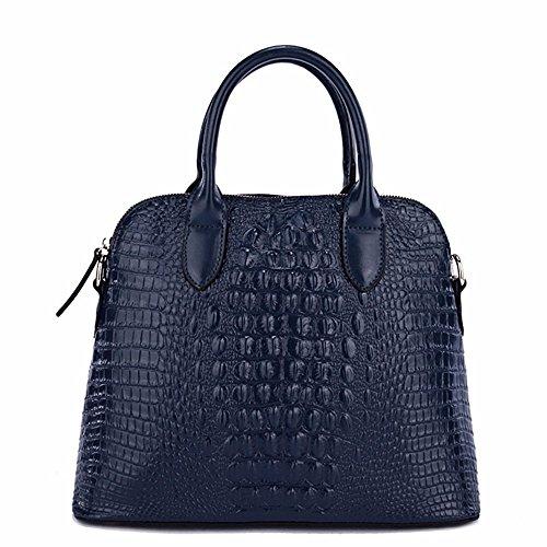 Cuero bolso femenino de mano de tendencia simple oblicua larga de moda bolso bolso, 36*14*29cm, oro PO azul