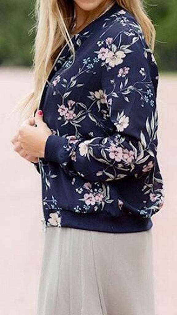 Fensajomon Womens Full Zip Fashion Cardigan Casual Printing Baseball Jacket Bomber Coat