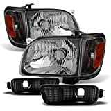 For Black 01-04 Toyota Tacoma Pickup Truck Headlights Front Lamps + Corner Signal Lights 4 Pieces Set