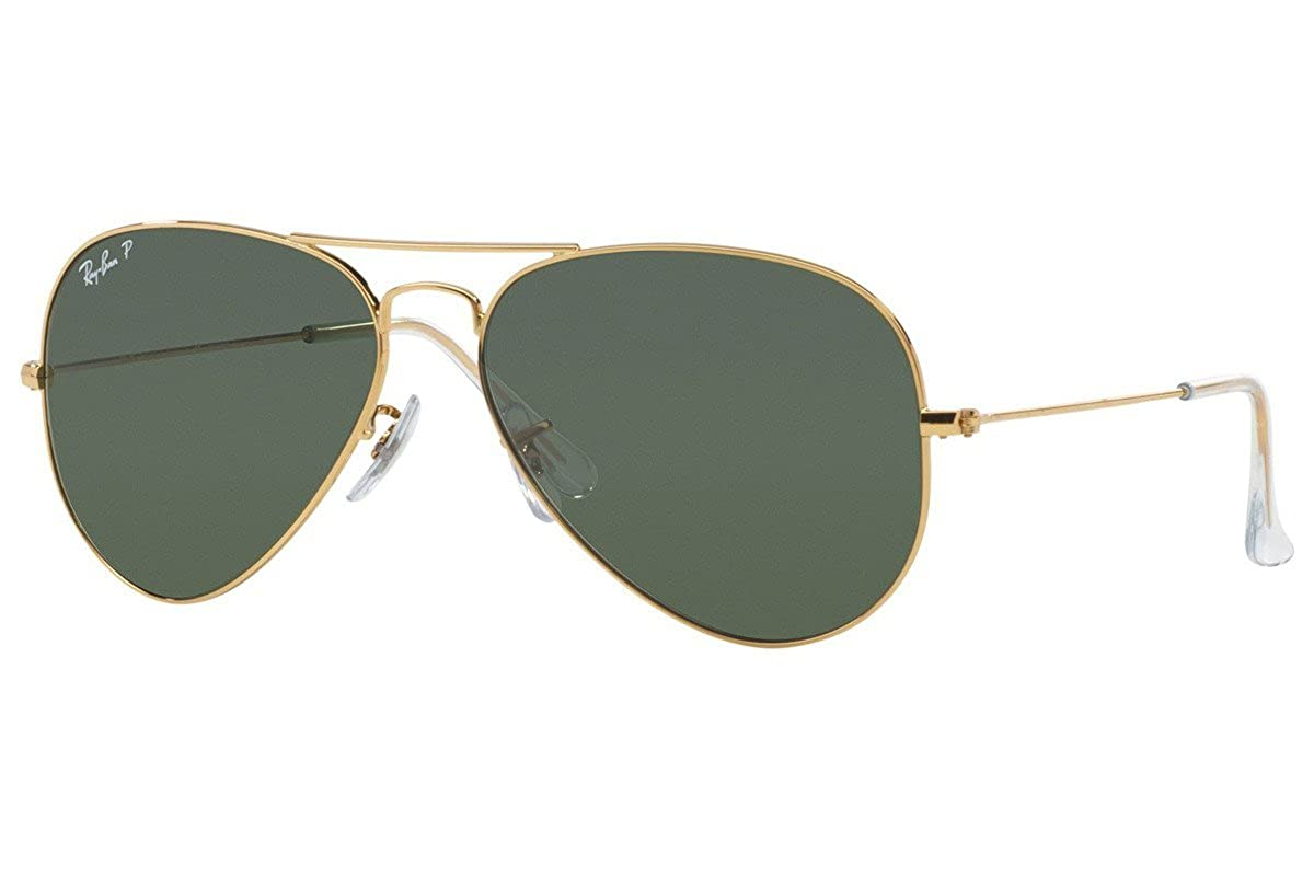 8955a0a17b Amazon.com  Ray-Ban AVIATOR LARGE METAL - ANTIQUE GOLD Frame GREEN Lenses  62mm Polarized  Ray-Ban  Clothing