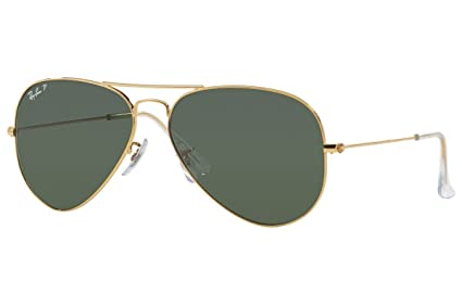 307360ca208 Amazon.com  Ray-Ban AVIATOR LARGE METAL - ANTIQUE GOLD Frame GREEN Lenses  62mm Polarized  Ray-Ban  Clothing