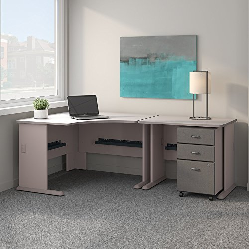 (Bush Business Furniture Series A 48W Corner Desk with 36W Return and Mobile File Cabinet in Pewter and White Spectrum)