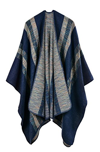 Hiwil Womens Autumn Casual Fashion Cardigan Faux Wool Plus Size Blanket Ponchos Shawls Scarf Navy Blue One Size