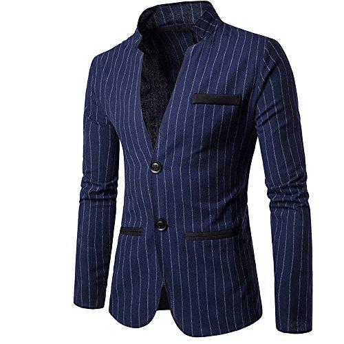 (Cloudstyle Mens Slim Fit Suit Single Breasted Pinstripe Suit Jacket Sport Coat)