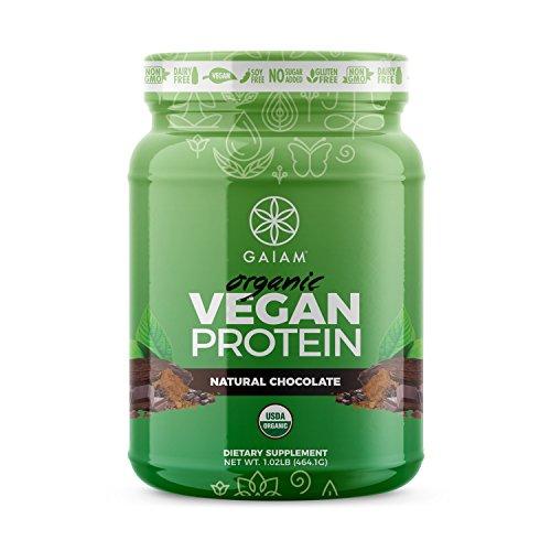 GAIAM Biologique de Protéines Végétaliennes (USDA Organic, 0g de Sucre, de 19-20 g de Protéines par portion) - 1 lb Pot (Naturel de Chocolat)