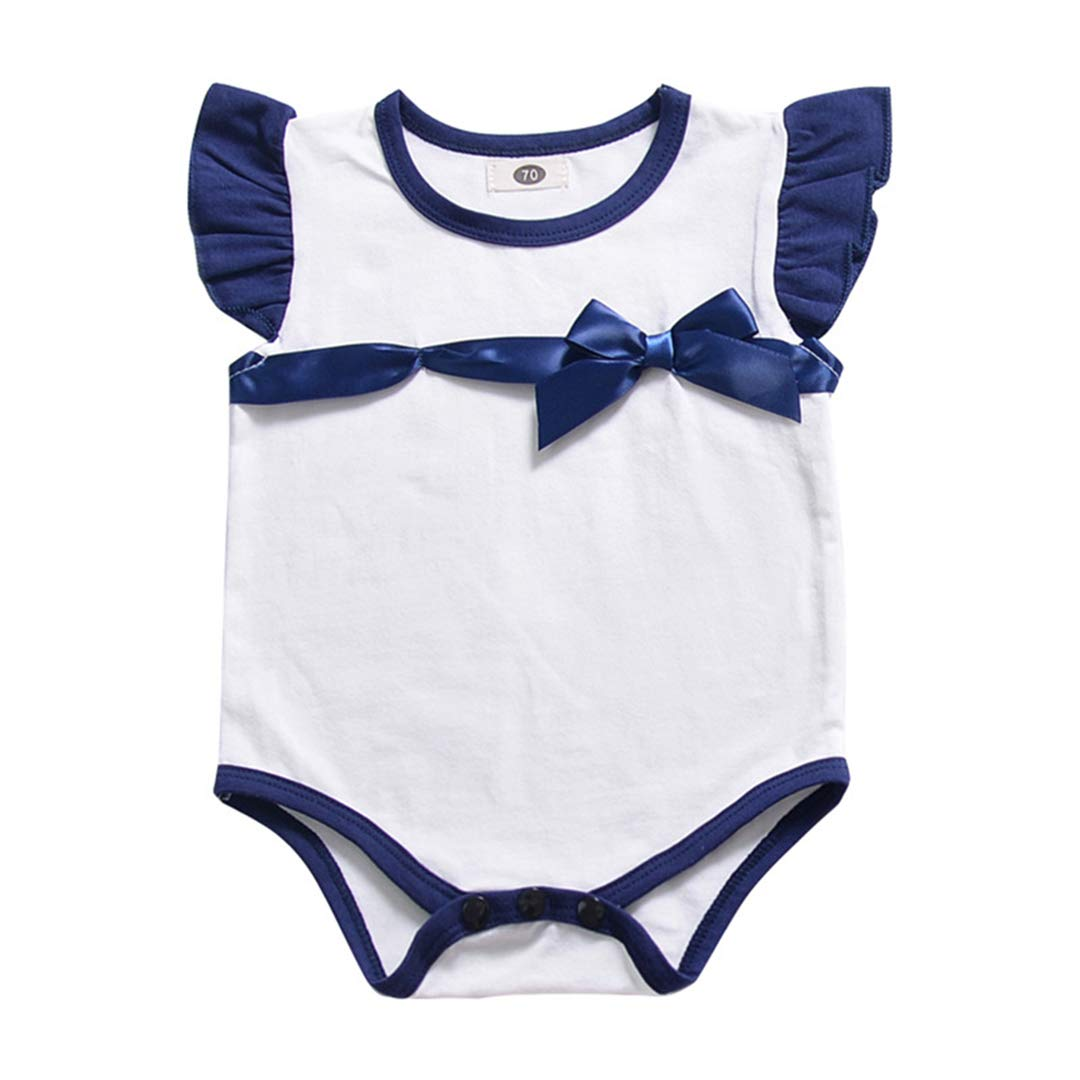 KUKEONON Infant Baby Girls Summer Outfit Flying Sleeves Triangle Romper Bowknot Jumpsuit