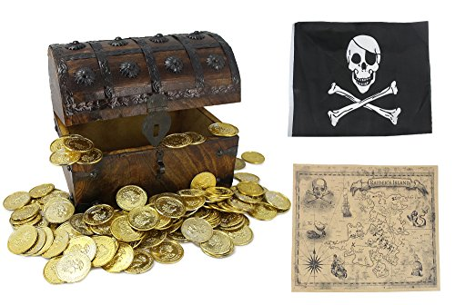 WellPackBox Large 8x6x6 Wooden Treasure Chest Box Toy Gold Coins Pirate Flag For Boys Kids Girls Children (Pirate Treasure Chest Toy Box)