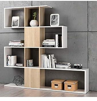 Habitdesign F00530301030_OAK Kafka D11 - Estantería libreria para oficina,  comedor o salon, mueble en modelo zig zag acabado en color Blanco Brillo y  ...