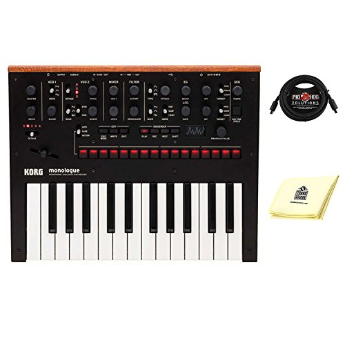 Korg Monologue 25 key Monophonic Analog Synthesizer with 16 step Sequencer in Black with midi cable and Zorro sounds Analog Synthesizer Polishing Cloth
