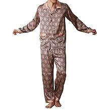 Amybria Men's Silk Pajamas Set of One Shirt and Pant Grey Silver Color