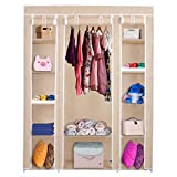 69'' Portable Closet Wardrobe Clothes Rack Storage Organizer With Shelf Beige