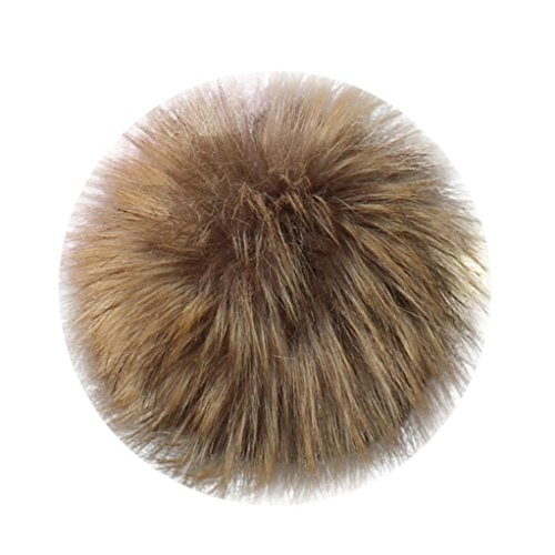 Pompom Ball,AutumnFall 1PC DIY Faux Fox Fur Fluffy Pompom Ball for Knitting Hats Keychain (Khaki)