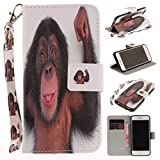 Misteem Case for iPhone 7 8 Animal, Cartoon Anime Comic Leather Case Wallet with Bookstyle Magnetic Closure Card Slot Holder Flip Cover Shockproof Slim Creative Pattern Shell Protective Cover for Apple iPhone 8 / 7 4.7 inch [Monkey]