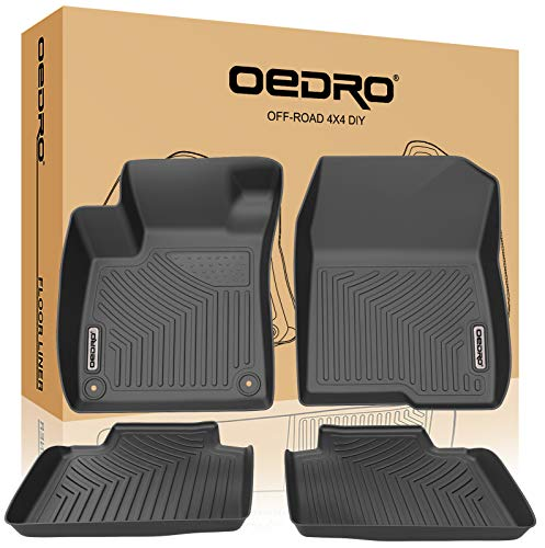 oEdRo Floor Mats Compatible for 2018-2019 Honda Accord, Unique Black TPE All-Weather Guard Includes 1st and 2nd Row: Front, Rear, Full Set Liners (Honda Sport 2018)