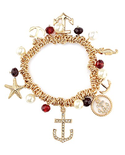 NYFASHION101 Nautical Anchor Starfish Seahorse Simulated Pearl Ruby Red Bead Charm Stretch Bracelet in Gold-Tone
