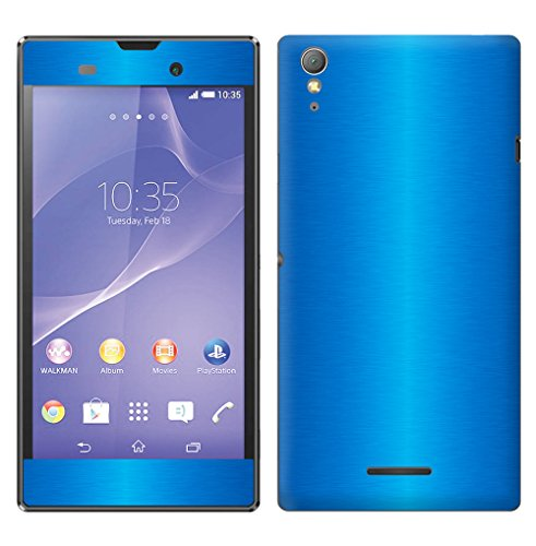 Decalrus - Sony Xperia T3 LITE BLUE Texture Brushed Aluminum skin skins decal for case cover wrap BAxperiaT3LiteBlue