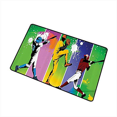 Interior Door mat Sports Decor Players in Different Positions in Playground Action Based Catcher Pitcher Modern Sports Print W31 xL47 Breathability Multi
