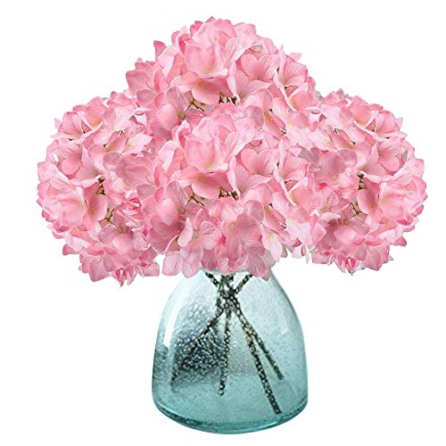 Artificial Hydrangea Flowers, Meiwo 2 Pcs Fake Hydrangea Silk Flowers to Shine Your Wedding Scene Arrangement and Home Party Decor(Pink)
