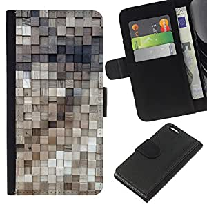 KingStore / Leather Etui en cuir / Apple Iphone 5C / Polygone Or Laiton 3D Motif Bois