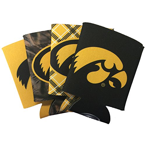 Iowa Hawkeyes Tailgate Cooler (NCAA 4-Pack Multi Color Sublimated Neoprene Beverage 12oz Insulated Can Hugger (Iowa Hawkeyes))