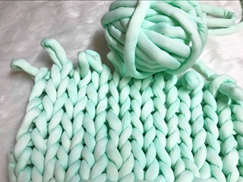 Super Chunky Vegan Yarn, Acrylic Bulky Thick Roving Washable Softee Chunky Yarn for Arm Knitting DIY Handmade Blankets (Mint, 20m) ()