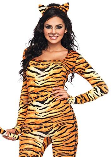 Leg Avenue Women's 2 Piece Wild Tigress Catsuit Costume, Orange/Black, (Wild Cat Costumes For Halloween)