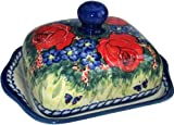 Boleslawiec Polish Pottery Butter Dish with Lid Eva's Collection Wild Roses