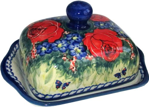 Polish Pottery Butter Dish with Lid Eva's Collection Wild Roses