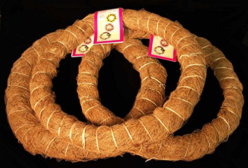 3 Pack, 14 in. Prefinished Coco Fiber Wrapped Biodegradable Wreath Form